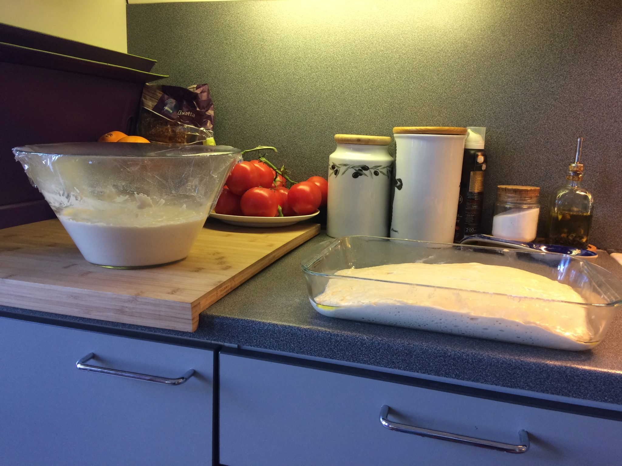Poolish fermenting and dough resting