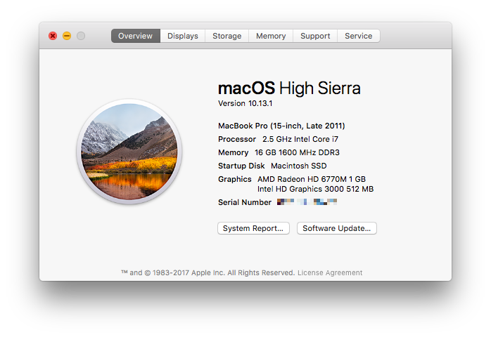 High Sierra update on my machine.