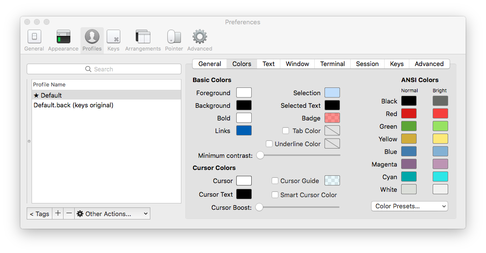 Color configuration in iTerm2
