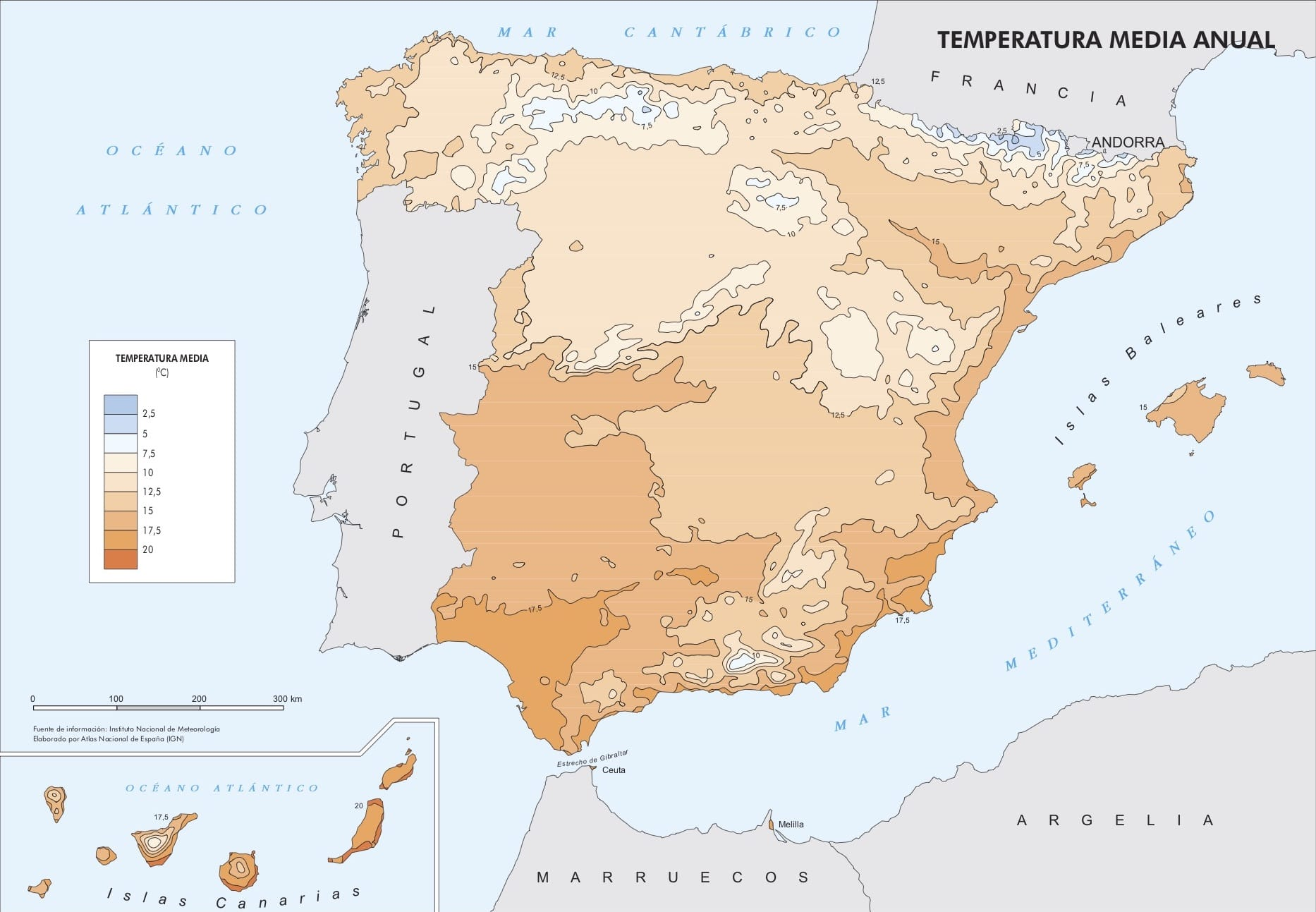 Mean temperature in Spain