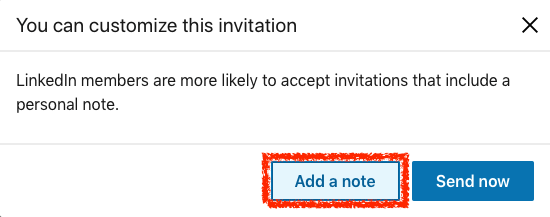 LinkedIn connect with add a note button